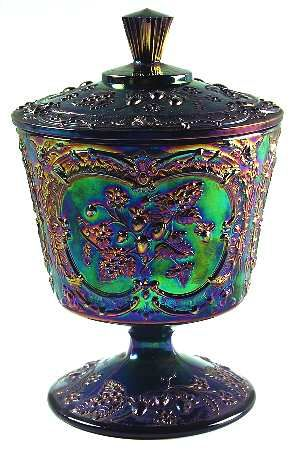 FENTON CRYSTAL Wild Strawberry-Amethyst,  Carnival Glass, Berries. Candy Jar.  replacements.com   c. 1970-1975