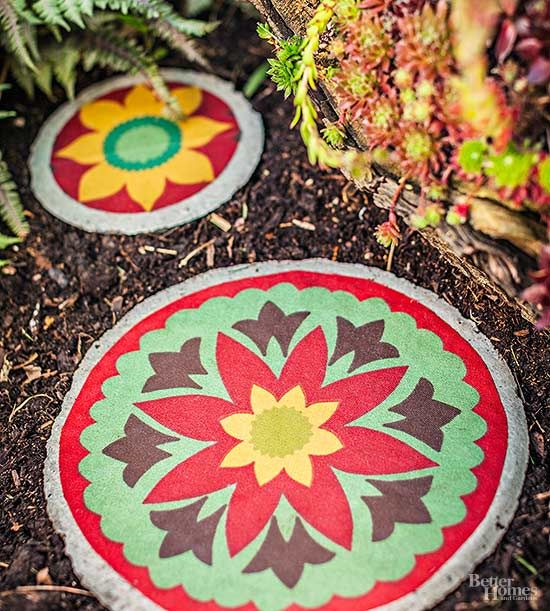 Give a paver colorful style by covering it with sturdy outdoor fabric./