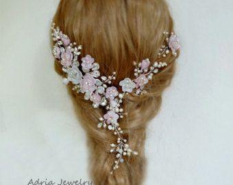 Bridal Hair Wreath Blush Pink Wedding Hair Vines by adriajewelry