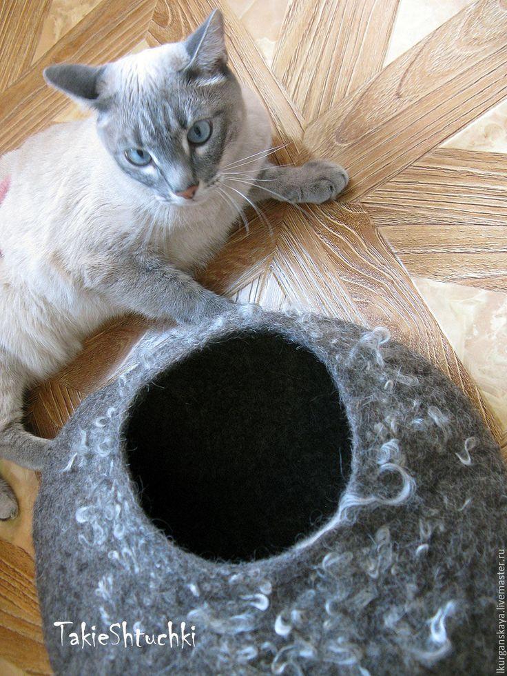 Купить кошкин дом из войлока, норка для кота - темно-серый, для кота, валяный домик для кошки
