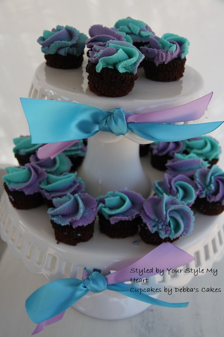 Purple Blue Kids High Tea Party Cupcake