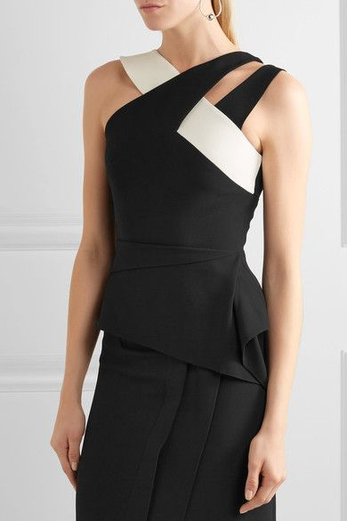 Black and white stretch-crepe Zip fastening through back 50% viscose, 47% acetate, 3% elastane; lining: 93% silk, 7% elastane Dry clean Made in the UK