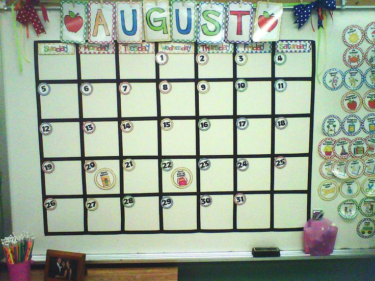 Calendar bulletin board with magnetic pieces and banner for months (buy set on TpT!)