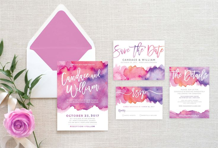 Printable Wedding Invitation Suite • Bright Pink and Purple Watercolor Abstract Save the Date, Details, RSVP Card Wedding Set Stationery by MuseDesignPrintables on Etsy