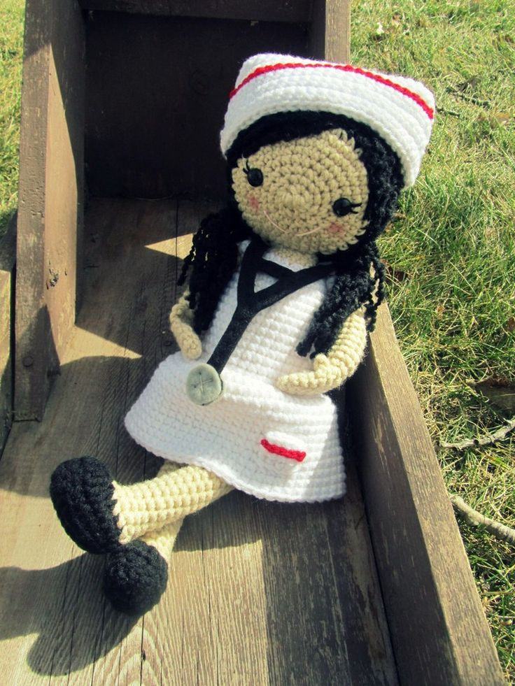 Crochet Nurse Doll with Nurse Hat and Stethoscope - You choose the color Made To Order. $45.00, via Etsy.