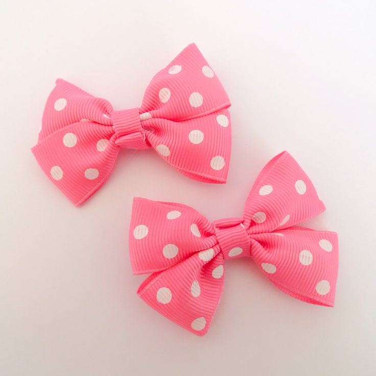 A personal favorite from my Etsy shop https://www.etsy.com/uk/listing/246568247/pink-and-white-polka-dot-hair-bow-clips