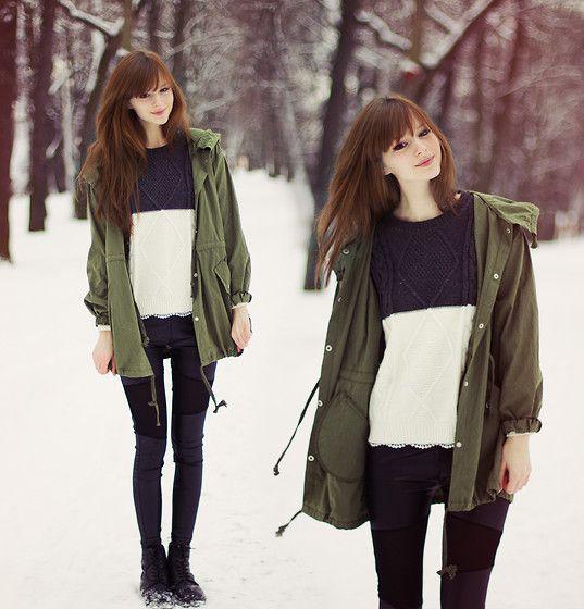 Http://Www.Banggood.Com/ Parka, Http://Www.Banggood.Com/ Leggins, Http://Www.Jollychic.Com/ Sweater - Snow - Mary Volkova | LOOKBOOK