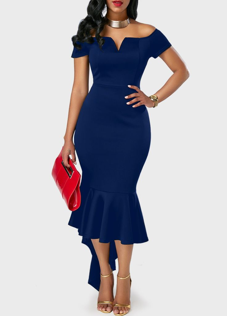 Off the Shoulder Peplum Hem Navy Blue Dress on sale only US$31.41 now, buy cheap Off the Shoulder Peplum Hem Navy Blue Dress at liligal.com
