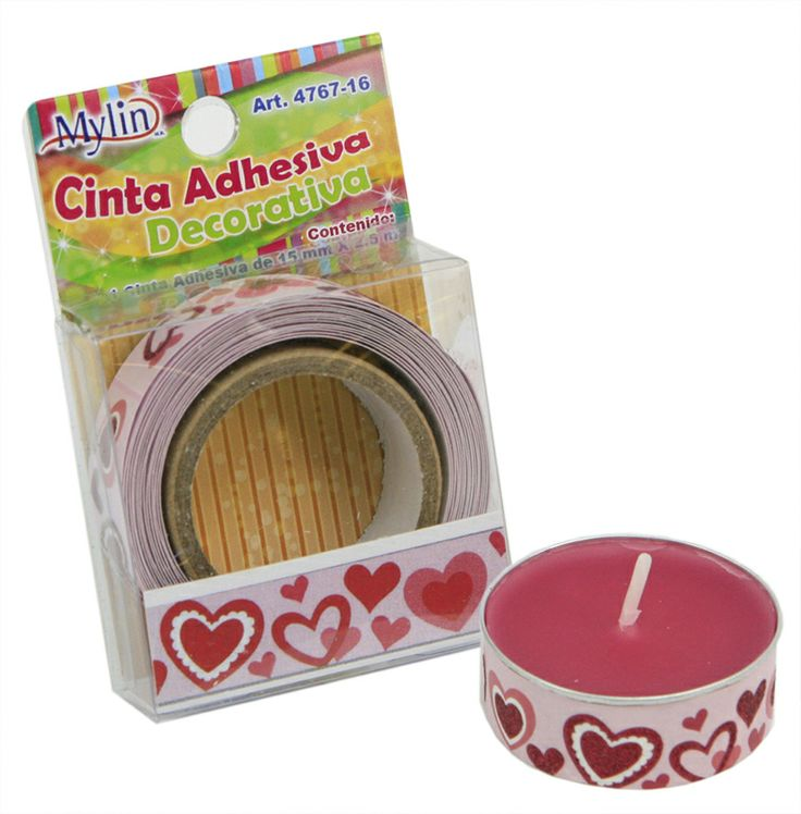 vela con cinta adhesiva decorativa / Corazones /Rosa