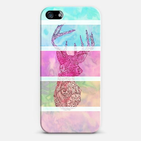 Whimsical Paisley Deer Head Summer Pastel Stripes | Love! Personalize your case using Instagram, Facebook and personal photos on Casetagram.