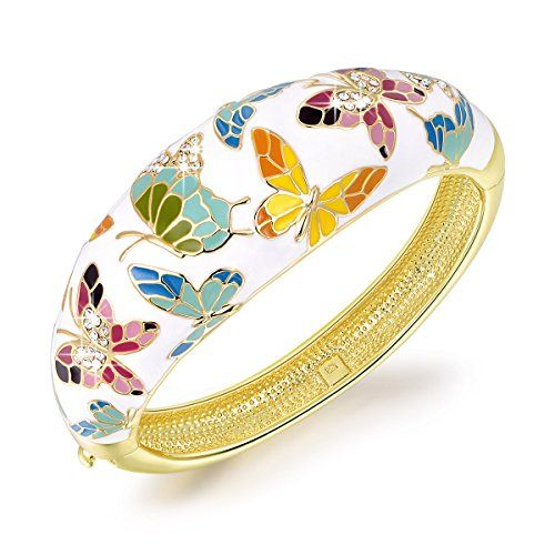 "Pauline & Morgen ""Spring of Versailles"" Enamel Butterfly Gold Plated Crystal White Women Bracelet"