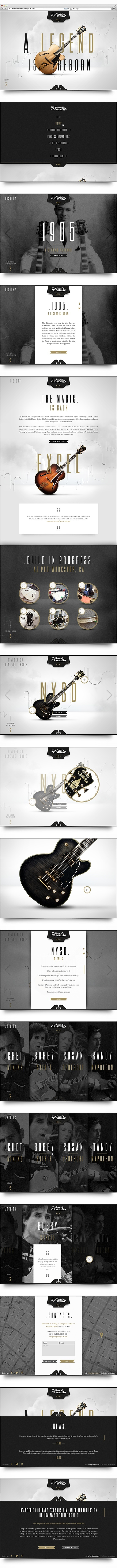 D'Angelico, web page, guitars, full bleed