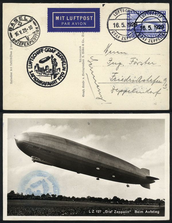 German Empire (1923/32 Weimar Republic), Card with view of the Zeppelin, dispatched onboard the airship on 16/MAY/1929 to Basel (datestamp of the same day) and final destination Friedrichshafen, excellent quality! Starting Price (11/2016): 75 USD.