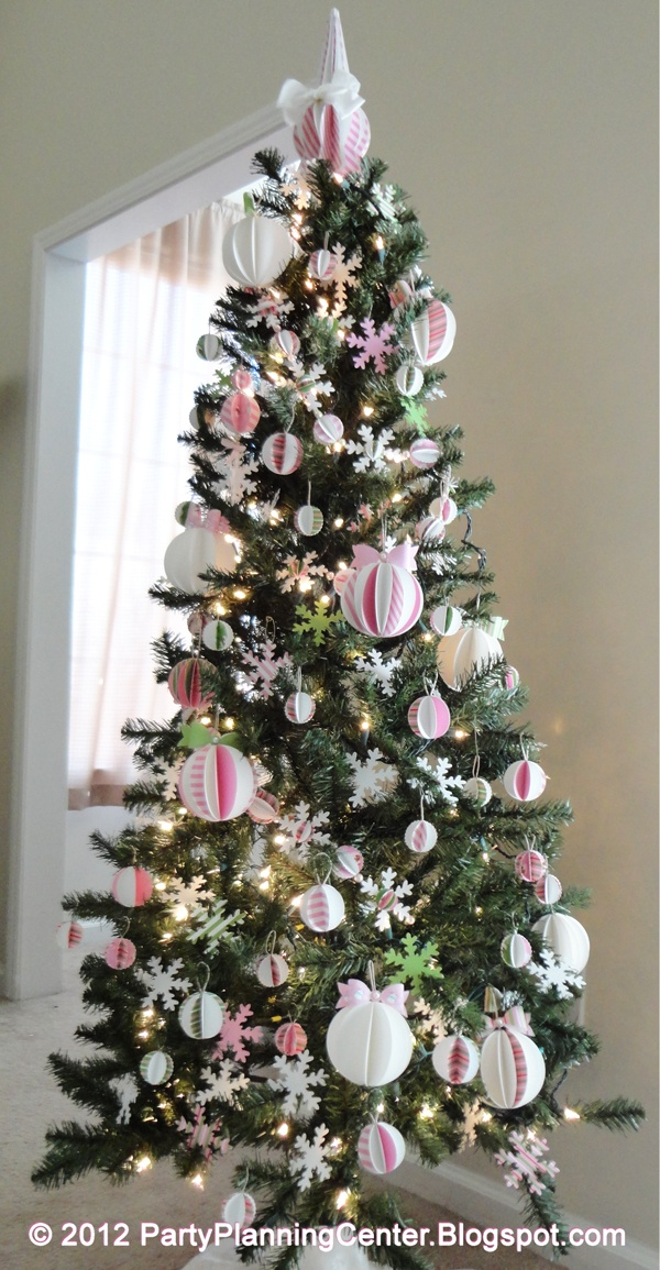 Christmas tree covered entirely with printable paper ornaments