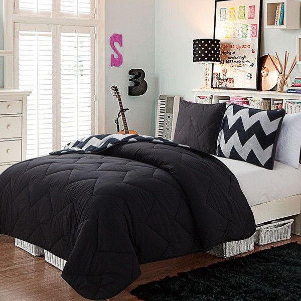 Victoria Classics Juniper Reversible Comforter Set (Black) ($78) ❤ liked on Polyvore featuring home, bed & bath, bedding, comforters, black, twin comforter, reversible comforter, chevron comforter set, 3 piece comforter set and quilted comforters