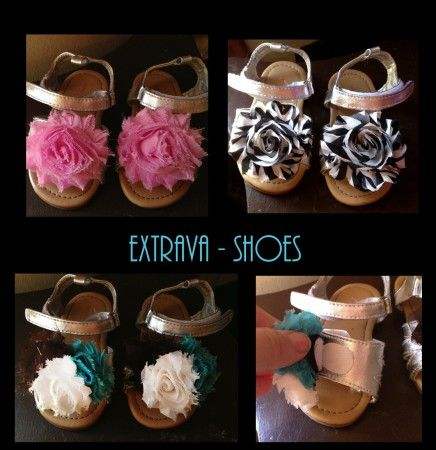 Take a pair of Wal-Mart Sandals, cut off the flower it comes with. Add Heavy Duty Velcro Dots to the sandal.  Then on a shabby chic flower add the other velcro dot! wa la for about 2 dollars a pair you get a whole new shoe that matches all the outfits without having to buy new shoes!  (Blog goes into more details!) A creative way to use the same pair of baby shoes..