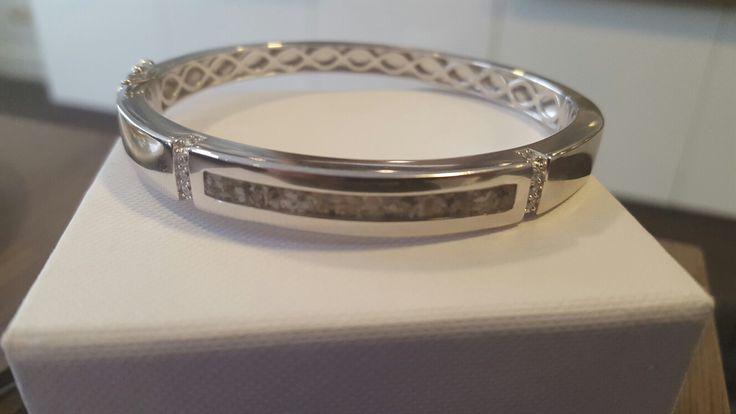 zilveren armband met as www.gedenkenschenk.nl