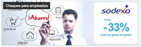 Cheques para empleados con Sodexo - descuento 33% sobre los gastos de gestión