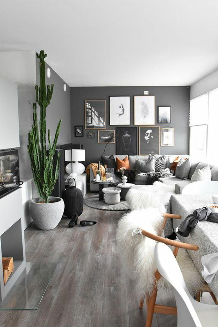 décoration feng shui, feng shui salon, grand cactus dans un pot blanc, parquet en gris, murs en gris nuance fumée, chaises en plastique blanche avec des pieds en bois clairs