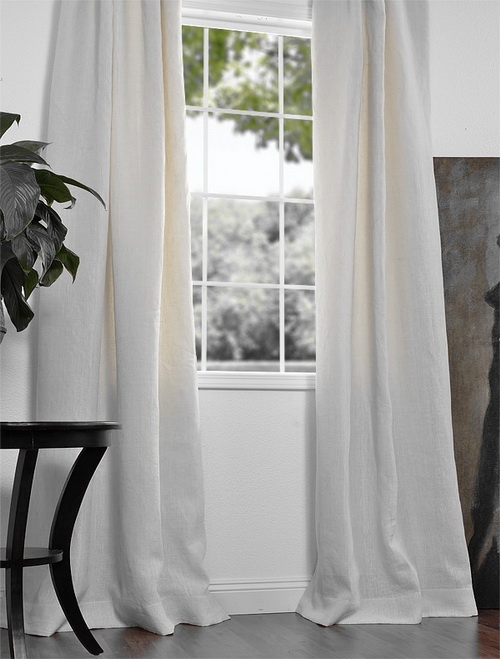 Pure White French Linen Drapes & Curtains