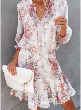 print floral 3 4 sleeves a line knee length casual