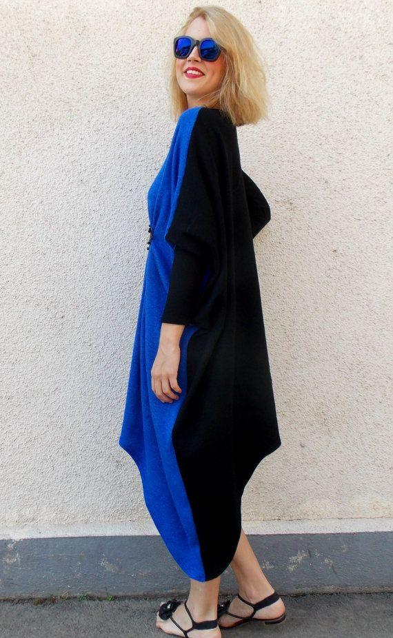 Plus Size Asymmetrical Dress / Autumn Wool Dress / by Teyxo