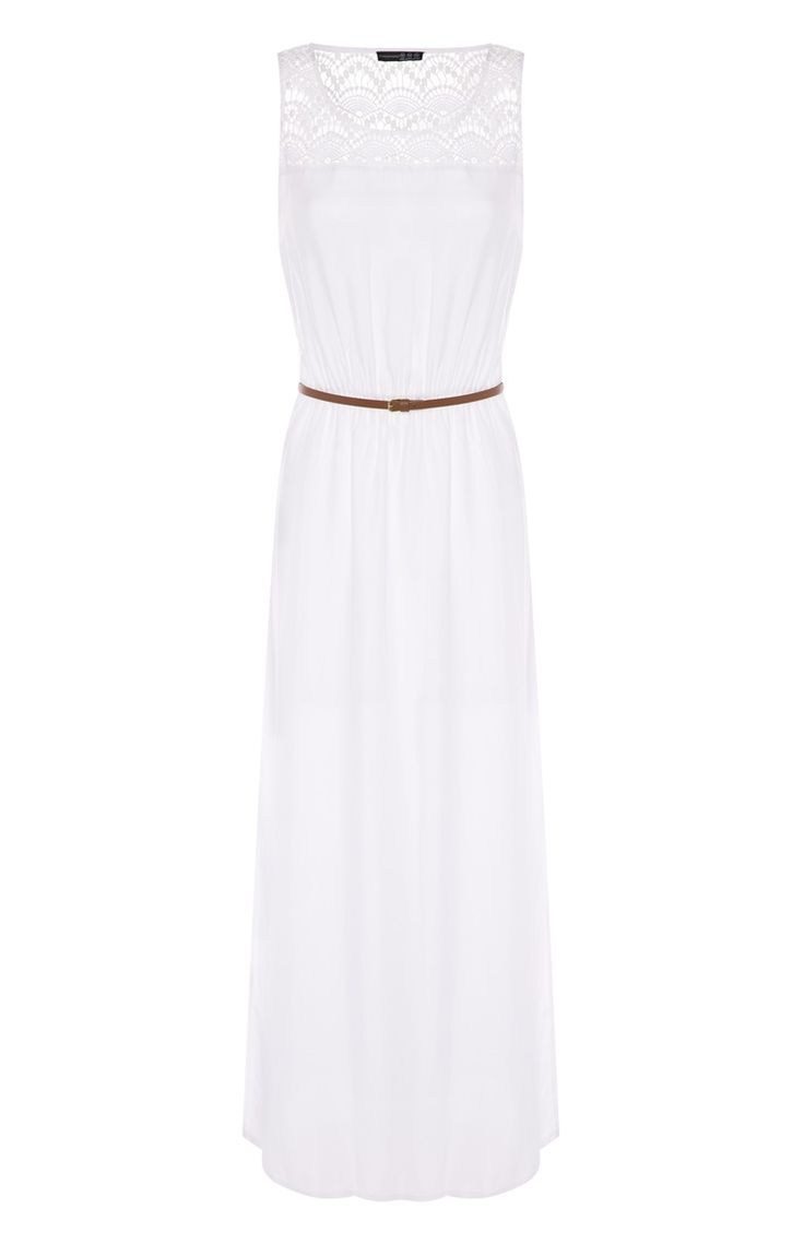 Vestido largo con estampado de puntilla blanco y cinturón