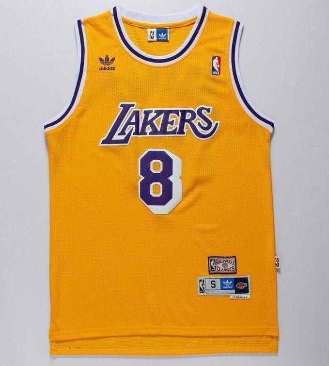 Men 8 Kobe Bryant Jersey Yellow Los Angeles Lakers Swingman Jersey ...