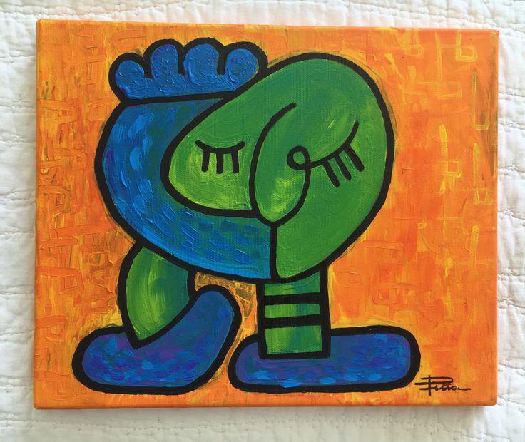 Título: El Abrazo Autor: Mabel Piña Técnica : Mixta sobre tela Medidas: 25 cm x 30 cm