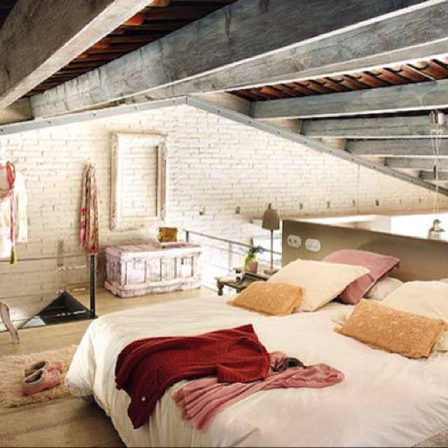 Loft Bedroom!!! White Washed Brick, Rustic Ceiling Beams
