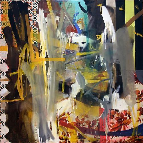 Albert Oehlen, <i>Untitled</i>, 1992 Oil on canvas and african fabric 60 x 60 inches (152.4 x 152.4 cm)