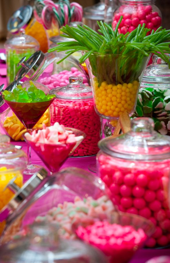 Yellow, green and pink candy bar - Ronald Reagan Building - Photo by Ralph Alswang....cute for a tropical themed birthday party ummm...do you see the candy pineapple!!!!!!!