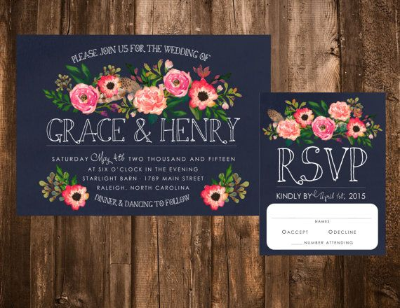 Navy & Pink Watercolor Floral Wedding Set by paprnpeonies on Etsy, $20 for a customized digital download. I like the florals and that you can change the colors of the flowers free of charge. I'm not crazy about the RSVP card though.