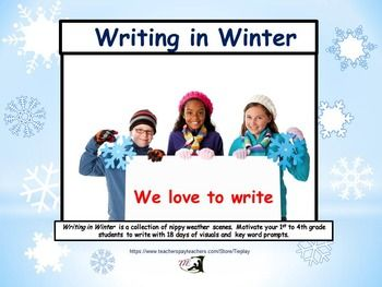 Are your learners anxious about writing? Writing in Winter is a collection of 19 wintry magical scenes with key word prompts. Learners gaze into the chilling snow and describe what might be happening. Motivate your 1 st -4th grade students to write with 19 days of visuals.