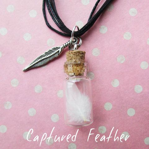 Captured feather necklace