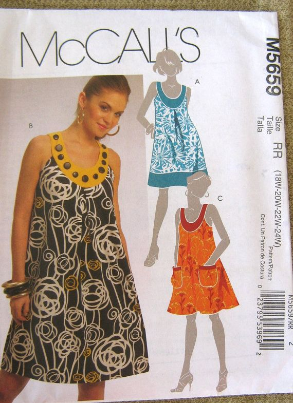 Summer Tunic top dress sewing pattern McCalls M5659 18 20 22 24 misses women sizes plus uncut