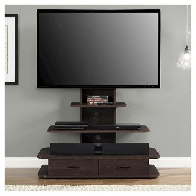 Galaxy 70 TV Stand with Mount and Drawers - Dark Walnut (Brown) - Ameriwood Home