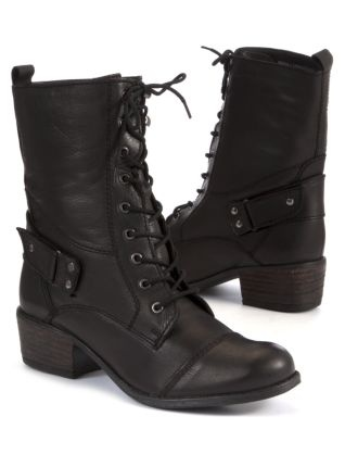 Black (Black) Black Leather Lace Up Military Boots   259931601   New Look