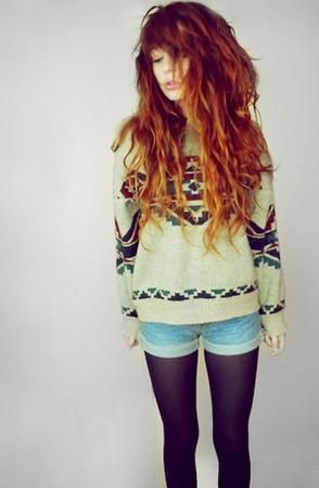 Love her outfit, and her hair, follow me for more hipster style -- I don't get the whole sweater-shorts-tights combo. If it's cold enough for a sweater, throw on some pants maybe.