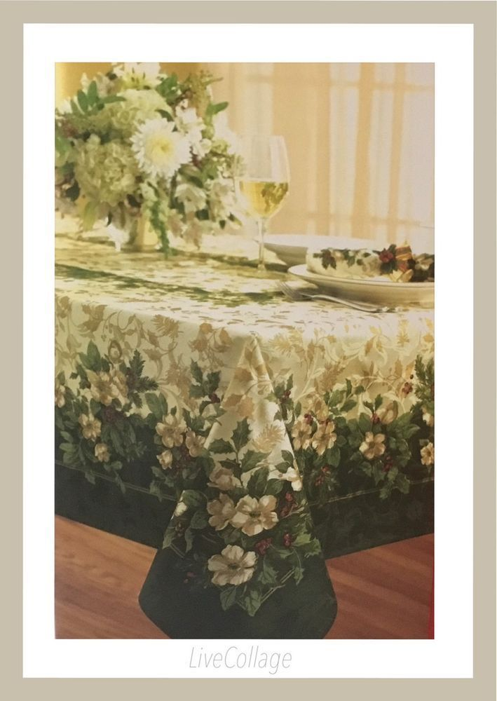 "WINTER WONDERLAND JOYOUS HOLIDAY DAMASK FABRIC BANQUETTE TABLE CLOTH 60 ""X 120"" #WINTERWONDERLAND"