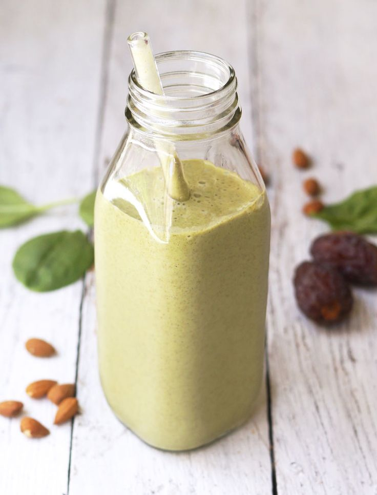Creamy Almond Butter & Spinach Shake. It gets its green hue from spinach, but all you'll taste is sweet vanilla and cinnamon!
