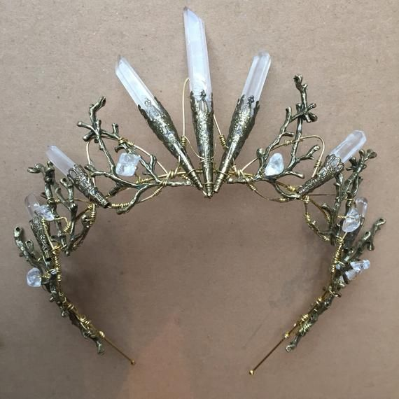 Silvery Wire Wrapped Smooth White AB Aura Quartz Point Crystal Crown Tiara Diadem Headband Women Crystal Crown Wiccan Crown