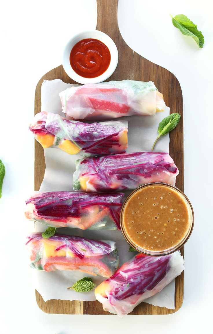 Rainbow Spring Rolls with Ginger Peanut Sauce