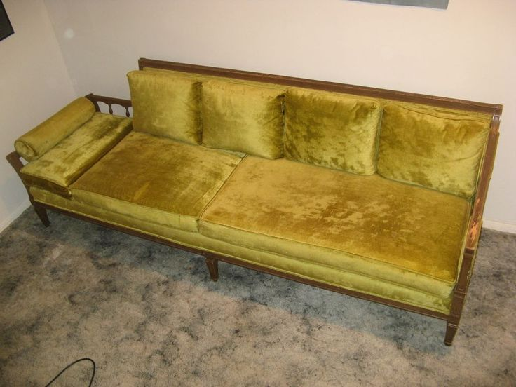 Vintage Mid Century Green Sofa Daybed Fainting Couch Cane Side Firm Good Sleeper Ebay Dream