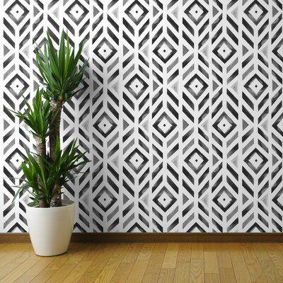 Wrought Studio Cesar 27ft L x 24in W Black And White Wallpaper – Watercolor Diamond Chevron Geometric Monochrome Gray Stripe Black And White Mod – Tra