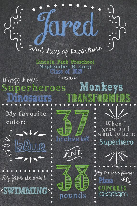 First Day of School Chalkboard Sign! What a great idea!! $12.50 on Etsy (I really should do it this year.)