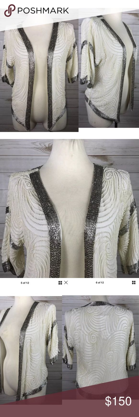 Parker Pearl Beaded  Sequin Ivory Jacket Parker Women's Pearl Beaded 3/4 Sleeve Open Jacket. Ruching to Sleeves. Size small. This is a sample and is rare. Satin lining some cosmetic dirt to the inner lining shown in pictures. One Beaded on the side is lose but no other defects noted.   Bust 37 inches  Sleeve length 10 inches  Total length 22 inches Parker Jackets & Coats