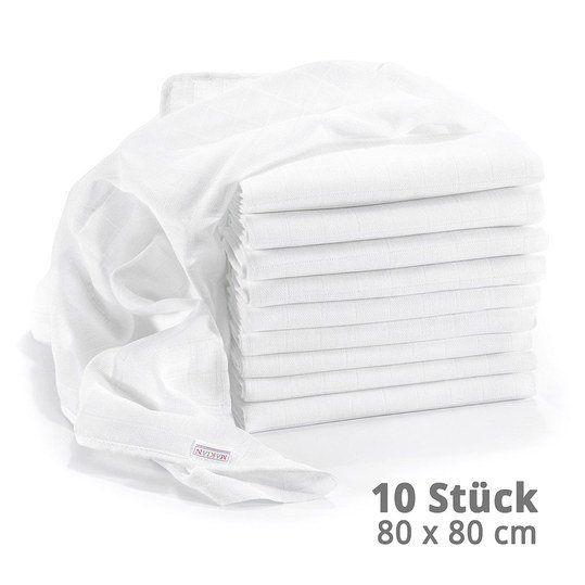 Makian - Mullwindel 10er Pack 80 x 80 cm - Weiß - Babyartikel.de
