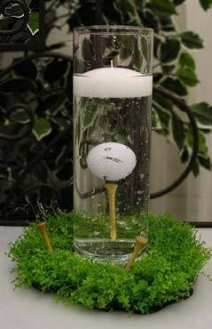 fill jar with golf ball and floating candle on grooms cake table!
