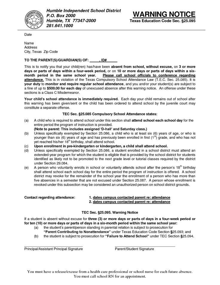 Warning Letter Form SampleWarning Letter For Absent